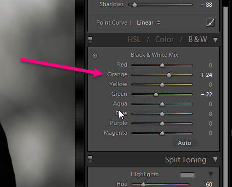 Use the orange slider to control brightness of skin tones